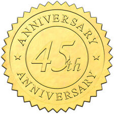 """Elegant GOLD embossed foil anniversry seals """"45th ANNIVERSARY"""" - 50 pack"""