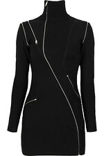 JULIEN MACDONALD Zip Detail Merino Wool Blend Mini Dress
