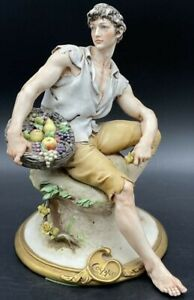 VINTAGE RARE CAPODIMONTE SEATED MAN WITH FRUIT BY GIUSEPPE CAPPE