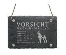 Schiefertafel « DEUTSCHE DOGGE - Vorsicht - freilaufender Hund » Schild Garten