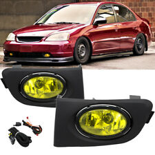 For 01-03 Honda Civic 2/4DR Yellow Lens Bumper Driving Fog Lights Lamps w/Switch