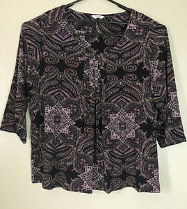 M&S Classic Purple Mix 3/4 Sleeve Casual Business Tunic Top Plus Size 22