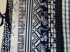 Vintage Japanese Cotton Yukata Fabric Scrap Remnants, 10 Piece Bundle