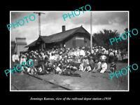 OLD LARGE HISTORIC PHOTO OF JENNINGS KANSAS, THE RAILROAD DEPOT STATION c1910