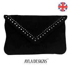 109bac327a Ladies Black Suede Envelope clutch party Shoulder Chain bag