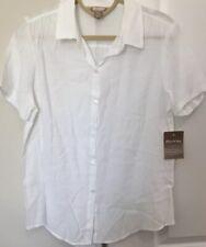 White Stag Women's NWT Blouse White Rayon Nylon Short Sleeves Size S(4-6)