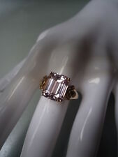 FABULOUS RARE SETTING Mod-Vtg PALE LAVENDER TOPAZ HUGE EMERALD CUT 9K GOLD RING