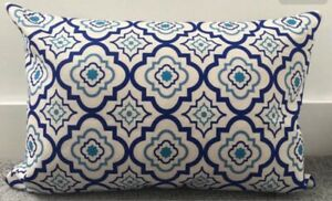 """Blue Moroccan Tile Cushion Cover 16 X 24"""" 40 X 60cm Large Rectangle"""
