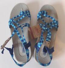 Skechers Reggaes Womens 8 Cushioned Foot Bed Blue Strap Sandals Premium Comfort