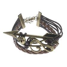 Wholesale Lot 8 Bronze Tone Leather Cord Music G Clef Skull Infinity Bracelets