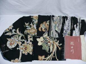 Vintage Black Silk Japanese TOMESODE KIMONO Sample Cloth w/8 Pttns Q810