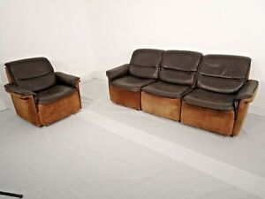 Vintage De Sede DS12 modular sofa and chair in brown leather and suede