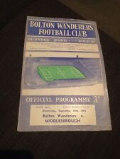 Bolton Wanderers V Middlesbrough 1964 Soccer/football Programme