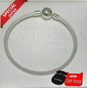 AUTHENTIC 925 PANDORA SILVER MOMENT ROUND MESH BANGLE BRACELET WITH LOGO