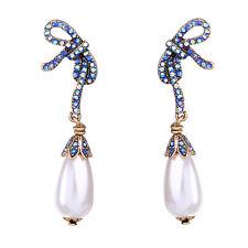 Boucles d`Oreilles Clous Doré Noeud Papillon Fin Bleu Perle Poire Retro BB15