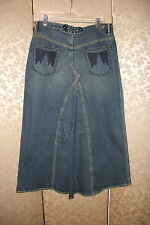 Free People RARE Blue Angle Wing Embroidered Jean Denim Long Maxi Skirt 30
