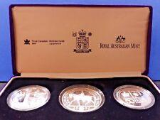 Canadá Australia Reino Unido 3 monedas de plata BU conjunto de adhesión certificado en caja 1952 2002