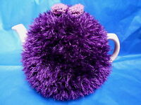 Funky fluffy tea cosy hand knitted in Wales PURPLE please see size guide