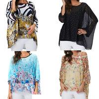Boho Style Womens Loose Blouse Round Collar Chiffon Floral Dolman Sleeve T-shirt