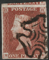 1841 SG8 1d RED BROWN PLATE 39 VERY FINE USED 4 MARGINS CLEAR PROFILE (ME)