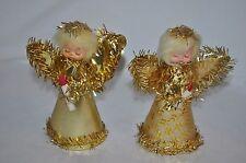 3 Vintage Christmas angels red flock gold foil inc Tree Top 10 Light gold Angel