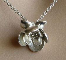 LOTUS flower sterling silver pendant , solid silver lotus pendant 3 d design