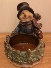 Snowman Candy Dish Ceramic Porcelain Brown Green