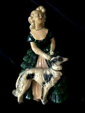 Vintage Antebellum Blonde Woman Green Gown Russian Wolfhound Borzoi Chalkware