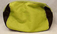 NEW Estee Lauder Green & Brown Faux Leather Travel Makeup Bag Pouch w/ Zipper