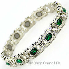 NEW Ladies Magnetic Bracelet Pretty Emerald Col Crystals Magnet Therapy Boxed