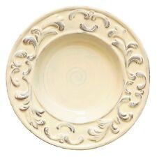 "Handcrafted 10"" Pasta/Soup Bowls, Set of 4, Italian Baroque Cream"