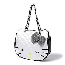 Hello Kitty Women's Sparkle and Shine White Quilted Purse Tote Bag - New
