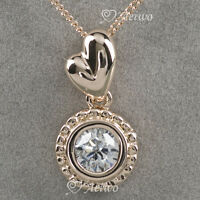9K GF 9CT GOLD MADE WITH SWAROVSKI CRYSTAL HEART PENDANT NECKLACE SOLITAIRE