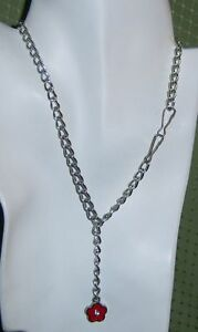 """Dazzling Chain Choker With Red Enamel & Rhinestone Flower Pendant 15""""L Necklace"""