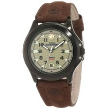 Mens Timex Indiglo Expedition Brown Leather Band Brown Dial Date Watch T47012