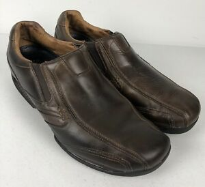 Sketchers Shape Ups Mens 13 Leather Shoes Brown Rustic Distressed Slip Ons 66510