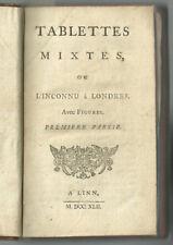1742 - Tablettes mixtes, ou l'inconnu à Londres. Avec figures.