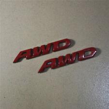 2PCS Chrome Red AWD Metal Emblem Badge Sticker Decal Limited 4x4 All Wheel Drive