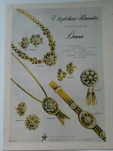 1948 Donna Elizabethan Romantics gold necklace earrings pin vintage jewelry ad