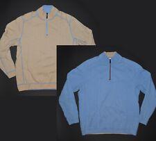 Tommy Bahama Reversible 1/4 Zip Sweater Mens Medium Blue Beige Cotton Pullover