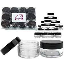 24 Pieces 20G/20Ml Round Clear Cosmetic Cream Sample Jars Black Lids Bpa Free