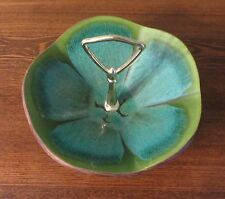 RETRO USA POTTERY~608~GREEN/BLUE~GOLD HANDLE~CANDY/NUT~VINTAGE