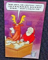 New adult funny/humorous Santa and Reindeer Christmas greetings card