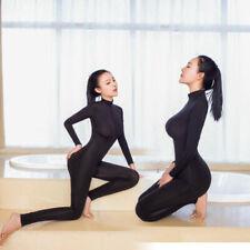 Women Shiny 2 Two Way Zipper Open Crotch Bust Transparent Lingerie Bodysuit Blk