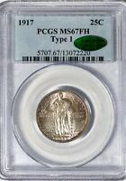 1917 25C Standing Liberty PCGS MS67FH CAC Full Head Type 1, Superb Toned Gem