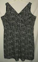 Career Occasion Cute Black Print V Neck Sleeveless Full Dress Plus Size 2X 3X 22