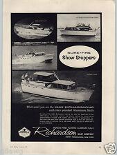 1962 PAPER AD Richardson Motor Boat Co Aluminum Hull 46' 43' 40' 36' Tacht