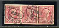 US Stamps # 368 2c Strip of 3 Superb Used
