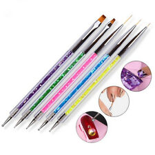5pc/set Nail Art Two Head Brush Pen Sequins Acrylic Handle UV Gel Polish Drawing