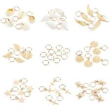 50Pcs Gold Shell Snowflake Pendant Rings Hair Clip Accessories for Braid #q